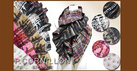 P.CORNILLON フランス織物の産地、リヨンの老舗ニットメーカーの、職人の手によるハンドメイドのマフラーです。