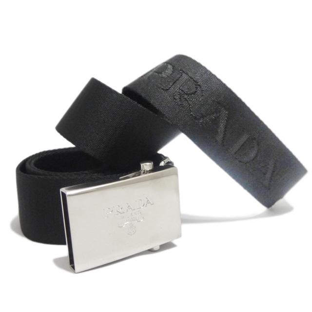 プラダ メンズ PRADAロゴがお洒落 カジュアルベルト 黒 #85#90#95#105 イタリア製 PRADA