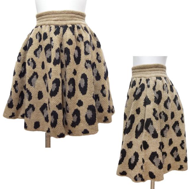 トリア レオパード柄 フレアーが可愛い ニットスカート キャメル #M triaa