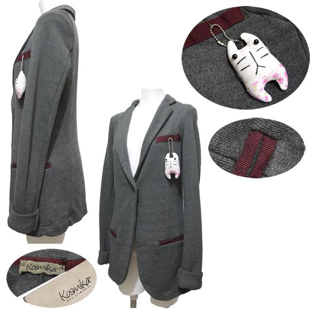 コスミカ イタリア製 遊び心のあるスウェットジャケット チャコールグレー・ベージュ #S・M kosmika