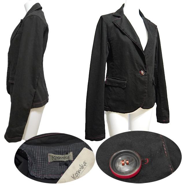 コスミカ イタリア製 赤いステッチがお洒落なコットンジャケット 黒 #S・M kosmika