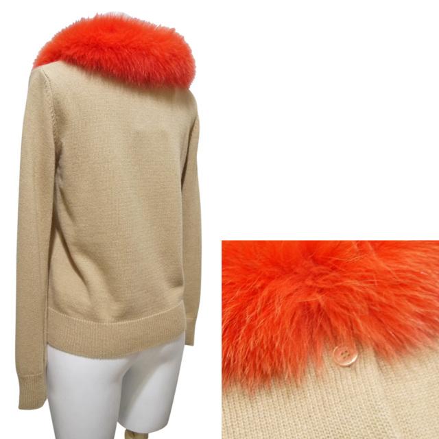 ブルーガール フォックスファー襟カーディガン ベージュ×オレンジ #38 blugirl