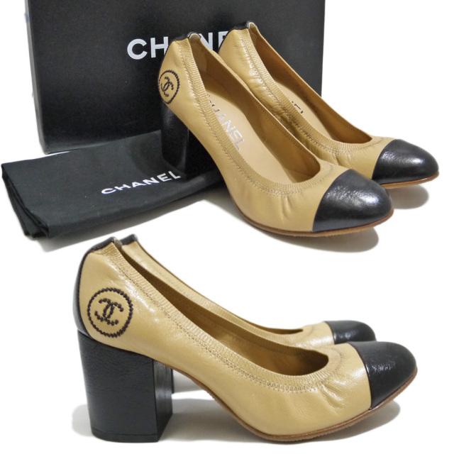 シャネル ロゴ刺繍 パンプス(靴) キャメル×黒 #35.5 CHANEL