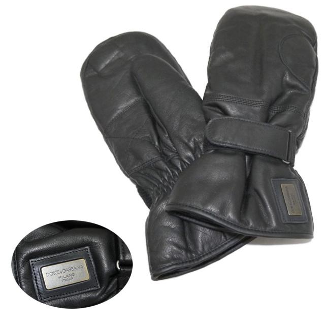 ドルチェ&ガッバーナ メンズ レザー手袋(ミトン) 黒 #M #L DOLCE&GABBANA