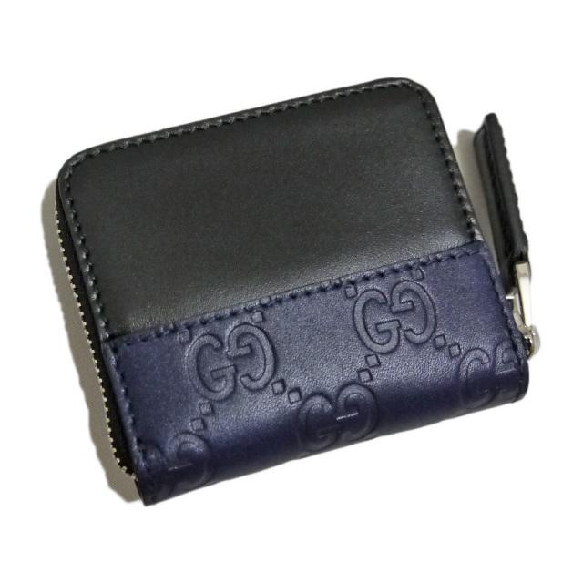 グッチ メンズ GGシマ コインケース 黒×紺 GUCCI