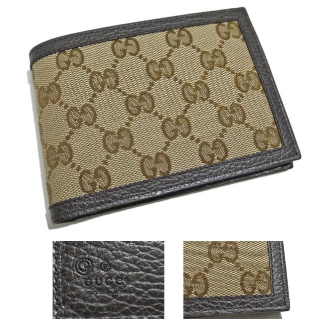 グッチ メンズ GG柄キャンバス生地 二つ折り財布 コインケース付 茶 GUCCI