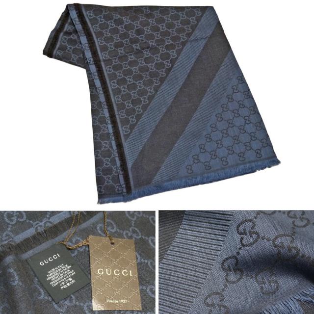 グッチ シルク混 GG柄 正方形ストール(スカーフ) ネイビー GUCCI