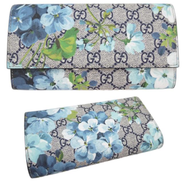 グッチ 花柄GGスプリームコンチネンタルウォレット二つ折り長財布 ブルー GUCCI