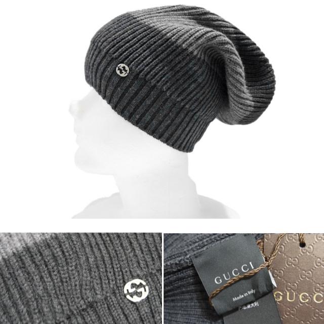 グッチ ウールニット帽子 男女兼用 グレー GUCCI