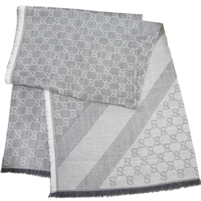 グッチ シルク混 GG柄 正方形ストール(スカーフ) 男女兼用 グレー GUCCI