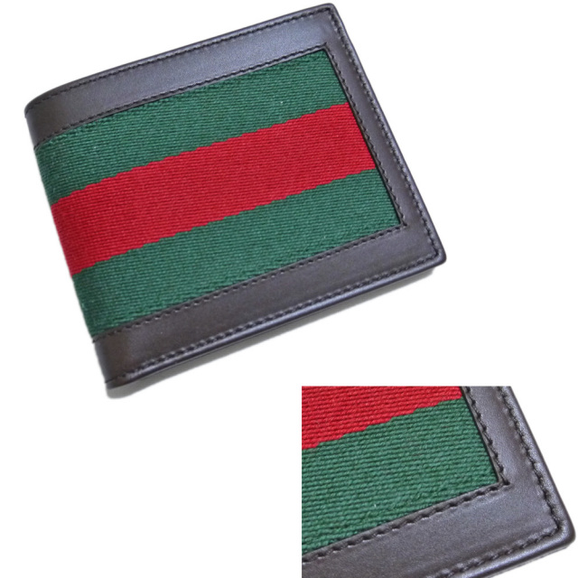 グッチ メンズ 二つ折り財布 コインケースなし 茶 GUCCI