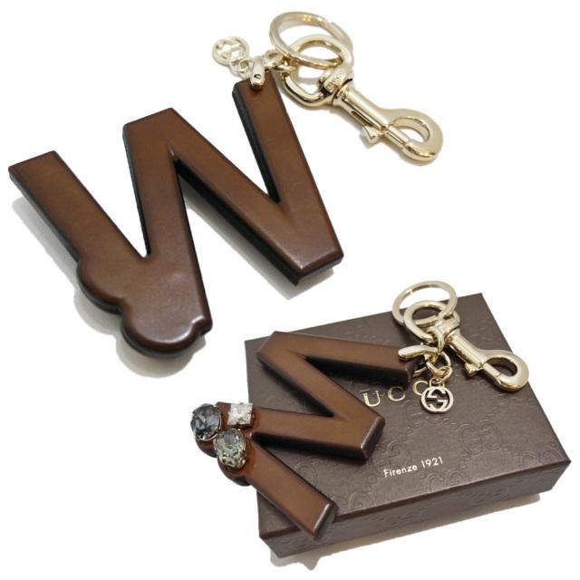 グッチ ビジュー&アルファベット「W」「M」 キーホルダー 茶色 GUCCI