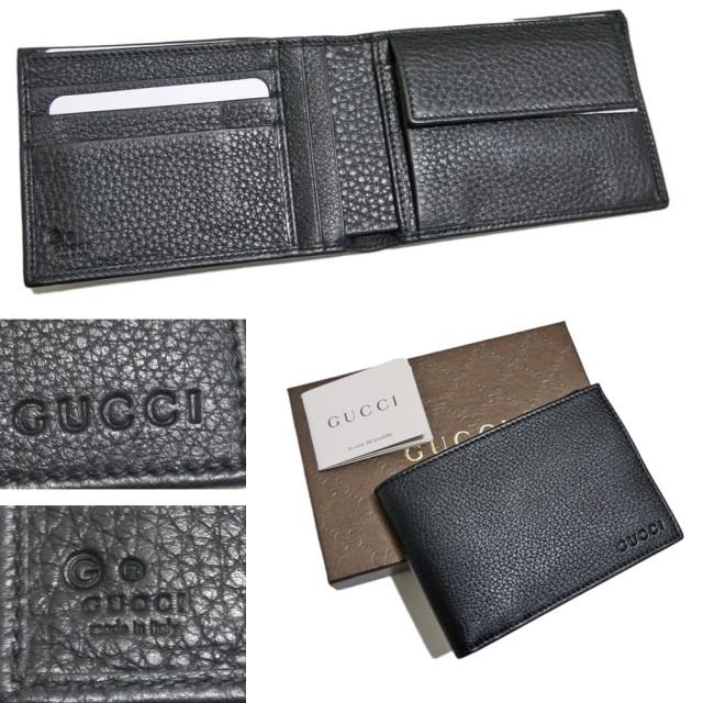 グッチ メンズ 二つ折り財布 コインケースあり 黒 GUCCI