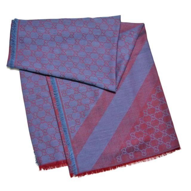 グッチ シルク混 GG柄 正方形ストール(スカーフ) ブルー×ボルドー GUCCI