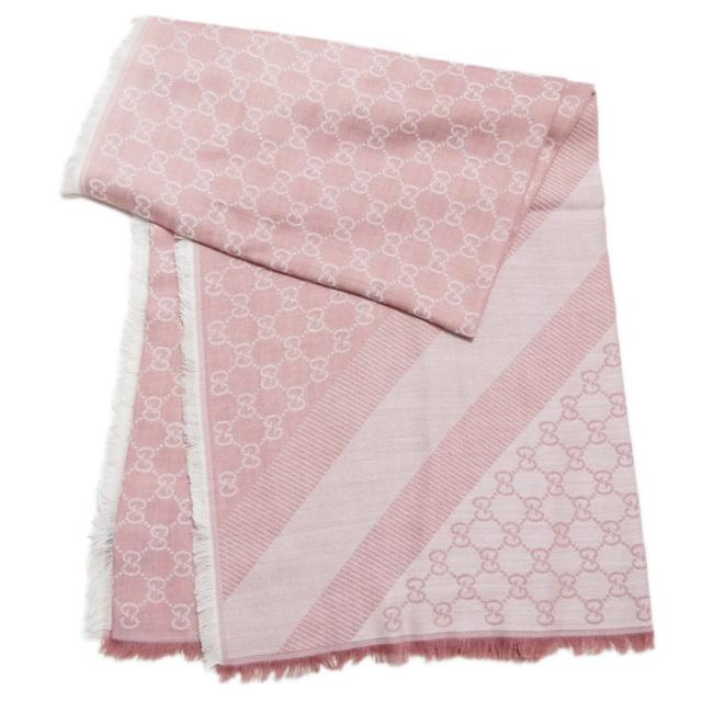 グッチ シルク混 GG柄 正方形ストール(スカーフ) ピンク GUCCI