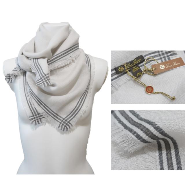 ロロピアーナ メンズ カシミア100% 正方形スカーフ(ストール) アイボリー Loro Piana
