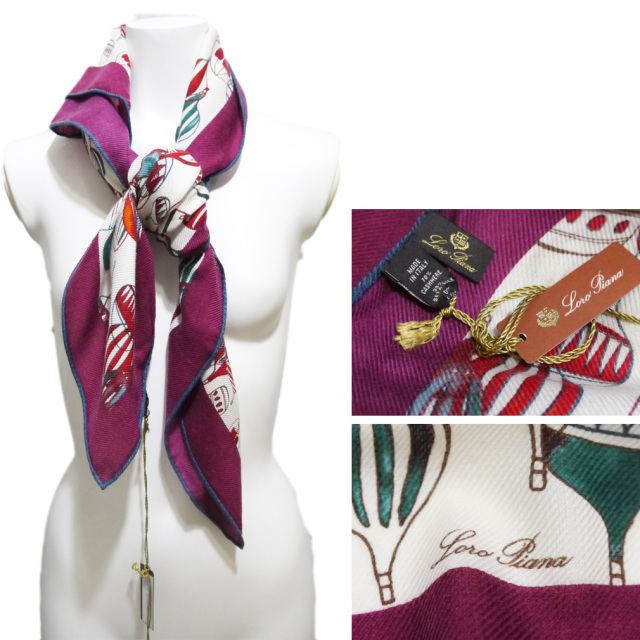 ロロピアーナ カシミア×シルク 気球柄 スカーフ 紫 Loro Piana