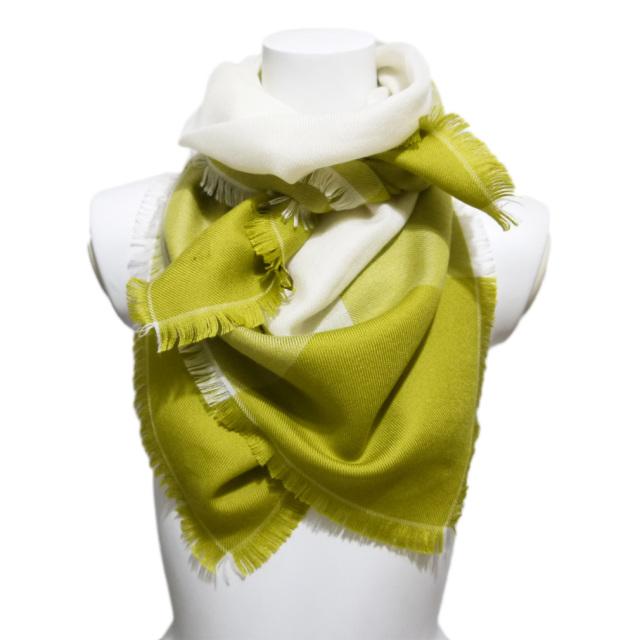 ロロピアーナ カシミア×シルク バイカラー スカーフ 緑 Loro Piana