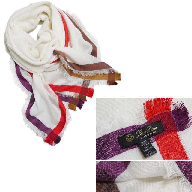 ロロピアーナ カシミア×シルク 正方形スカーフ(ストール) 白 Loro Piana