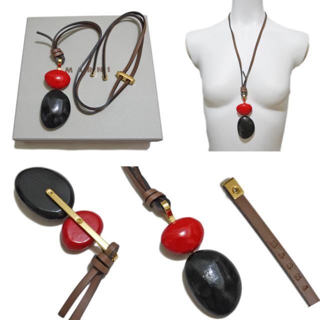 マルニ 木製 ネックレス 赤×黒 MARNI