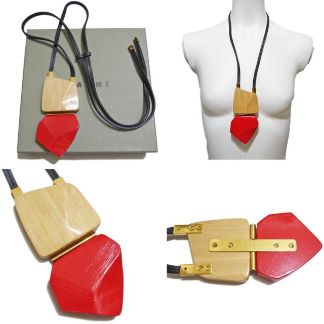 マルニ 木製 ネックレス 赤×ベージュ MARNI