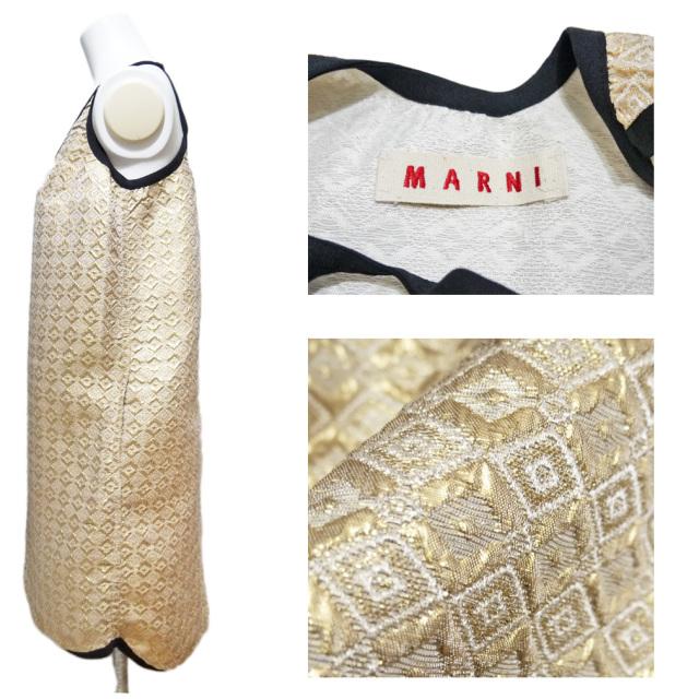 マルニ ゴージャスなジャガード織生地 ワンピース ゴールド #40 MARNI