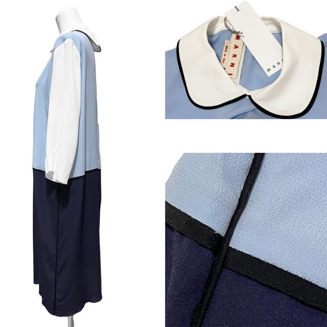 マルニ  七分袖 シルクワンピース ブルー #40 MARNI