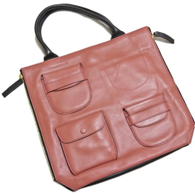 マルニ 外ポケットが可愛い 手提げバッグ ピンク MARNI
