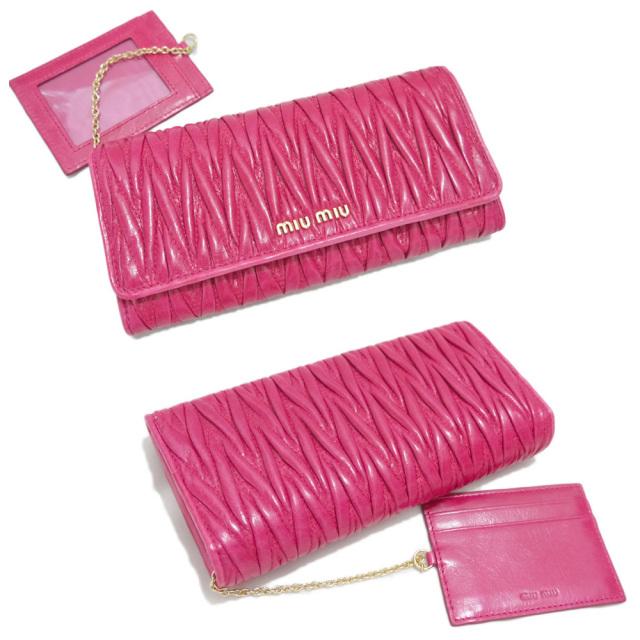 ミュウミュウ マトラッセ 二つ折り長財布 パスケース付 ピンク(FUXIA) 5MH109 miu miu