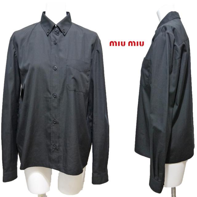 ミュウミュウ 長袖 コットンシャツブラウス 黒 #38 miu miu