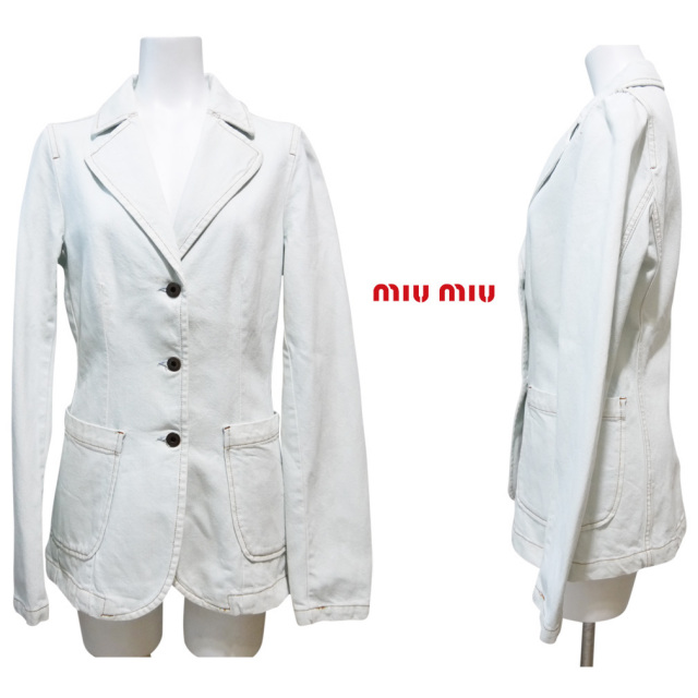 ミュウミュウ テーラード デニムジャケット 淡いブルー #XS miu miu