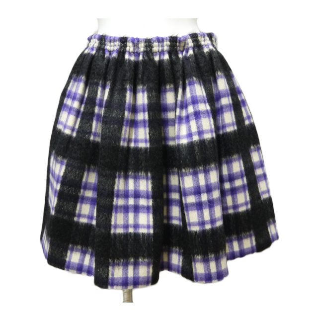 ミュウミュウ チェック柄 ギャザースカート パープル #38 miu miu