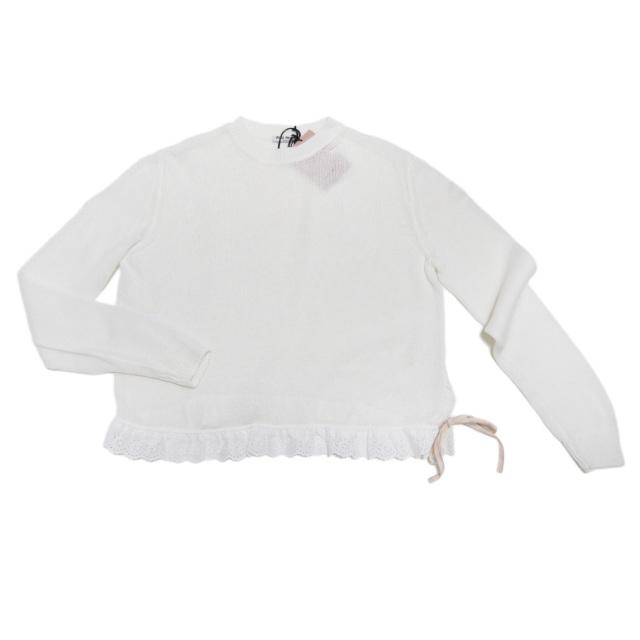 ミュウミュウ コットン 長袖クルーネックニット(セーター) 白 #38 #40 miu miu