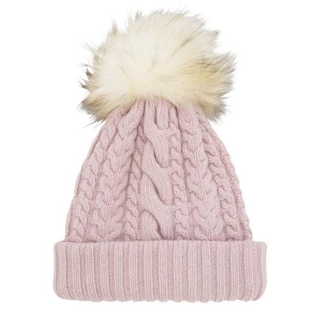 ミュウミュウ FOXファーポンポン付 カシミア混ケーブルニット帽子 ピンク(MUGHETTO) miu miu