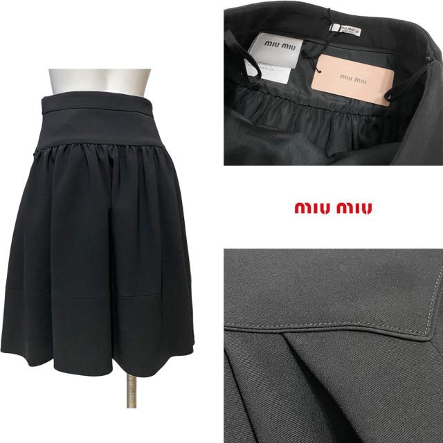 ミュウミュウ フレアースカート 黒 #38 miu miu