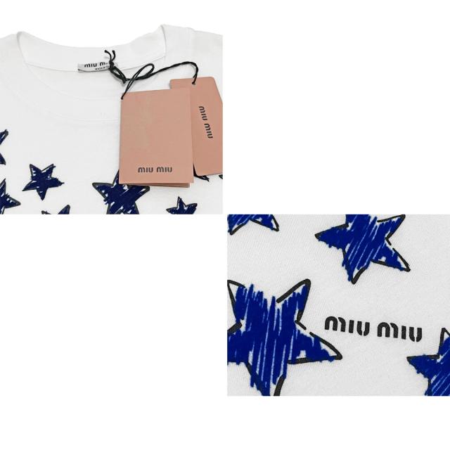 ミュウミュウ 星柄Tシャツ 白×青 #XS #M #L miu miu
