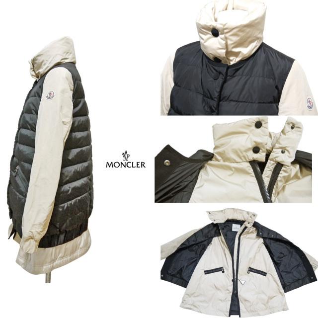 モンクレール ダウンジャケット(コート)黒×ベージュ #00  MONCLER