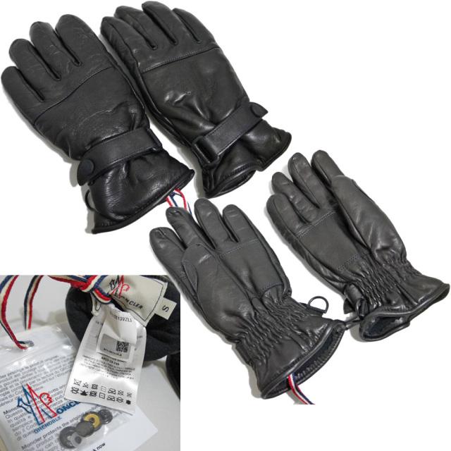 モンクレール 中綿入り レザーグローブ(手袋) 黒 #S  MONCLER