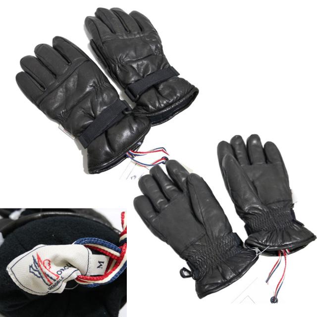 モンクレール 中綿入り レザーグローブ(手袋) 黒 #M  MONCLER