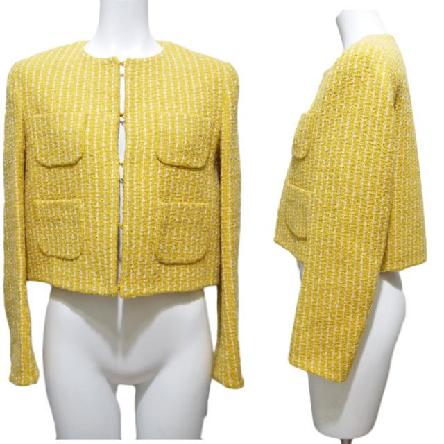 モスキーノ ノーカラーツイードジャケット 黄色 #38 MOSCHINO