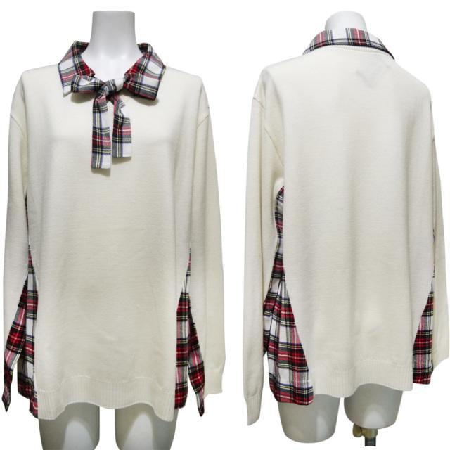 モスキーノ 異素材MIX ボウタイ付きセーター タータンチェック×白 #44 MOSCHINO