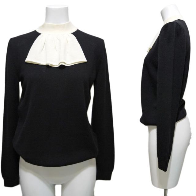 モスキーノ 白襟セーター 黒 #40 MOSCHINO