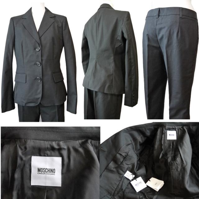 モスキーノ 綺麗なシルエットのパンツスーツ 黒 #40 MOSCHINO