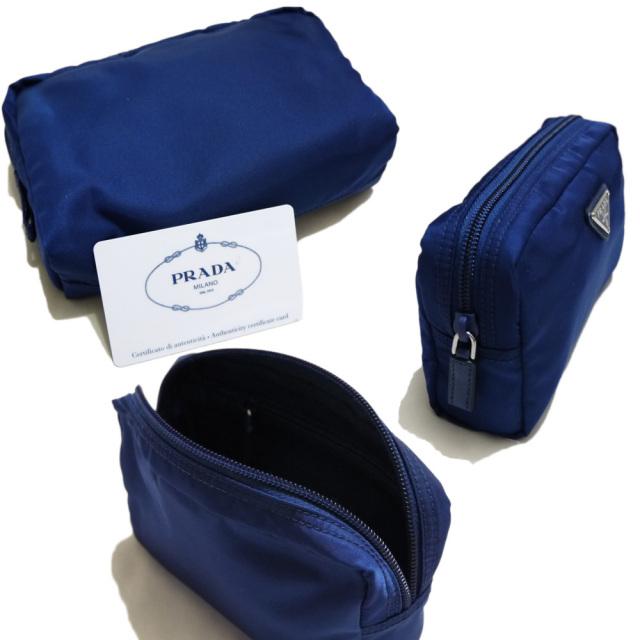 プラダ ナイロン化粧ポーチ 紺(ROYAL) 1NA021 PRADA