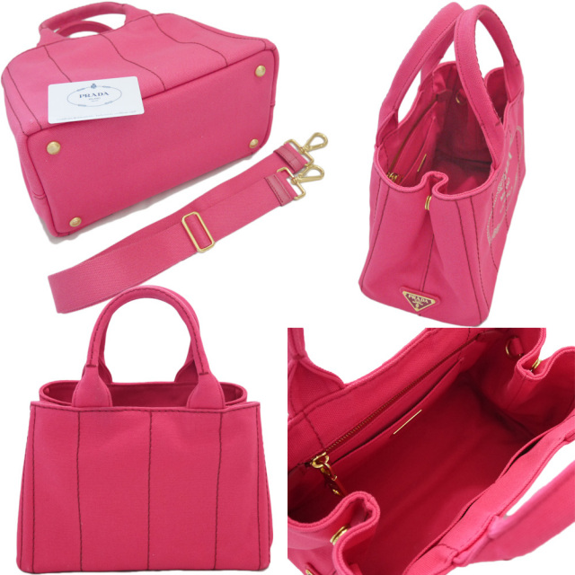 プラダ カナパ(CANAPA) ショッピングトートバッグ ミニサイズ ピンク(PEONIA) 1BG439 PRADA