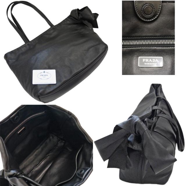 プラダ リボンが可愛い レザートートバッグ(ショルダーバッグ) 黒 PRADA