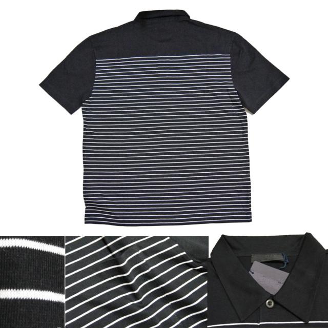 プラダ メンズ ボーダー ポロシャツ 黒 #M  PRADA