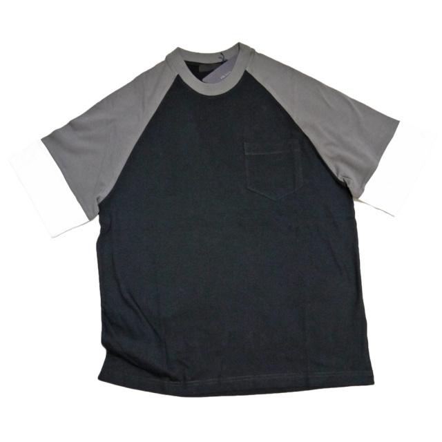 プラダ メンズ ラグランTシャツ 黒×茶 #M  PRADA