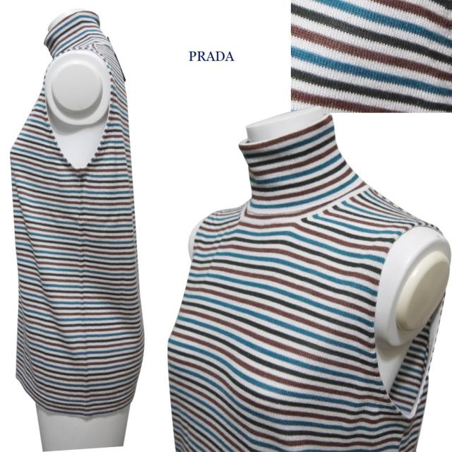 プラダ タートル ノースリニット(セーター) ボーダ #40 PRADA