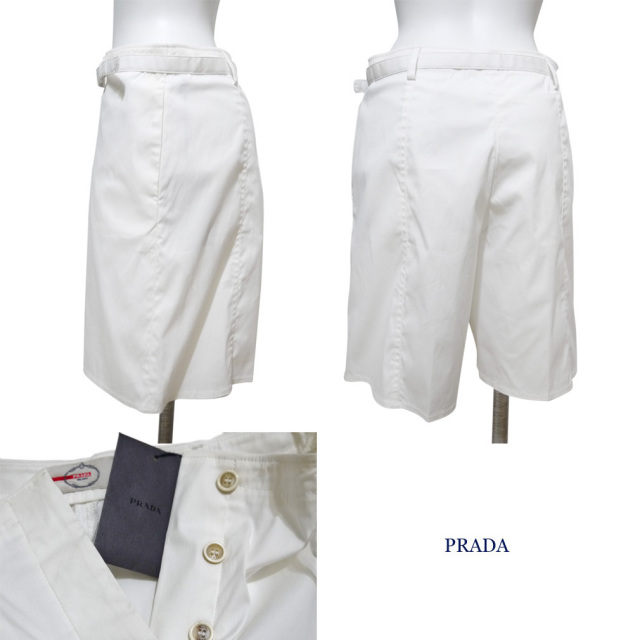 プラダ コットン ショートパンツ 白 #38 PRADA